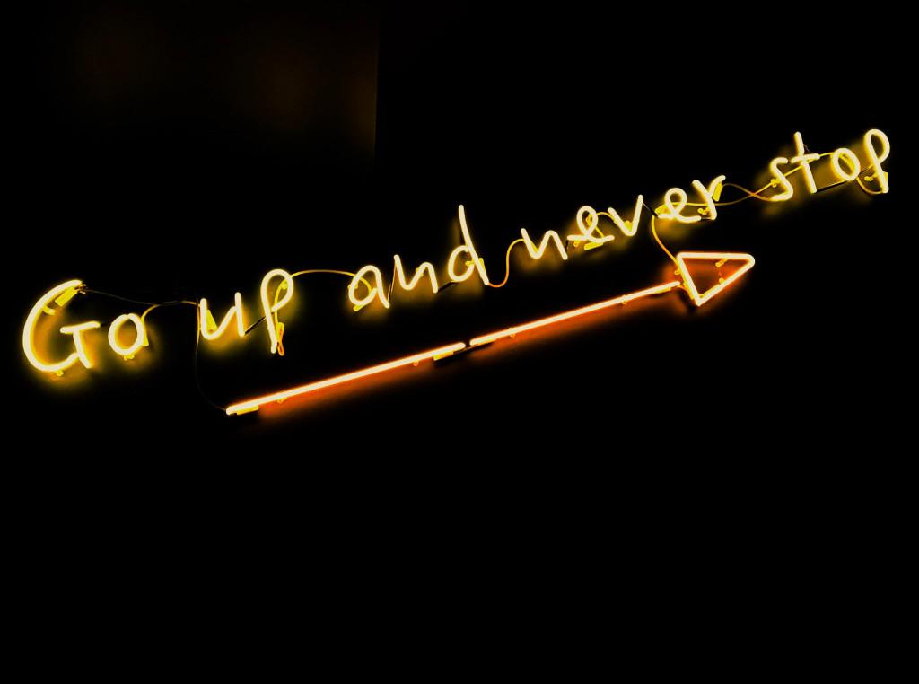 """Schrift """"never stop"""""""