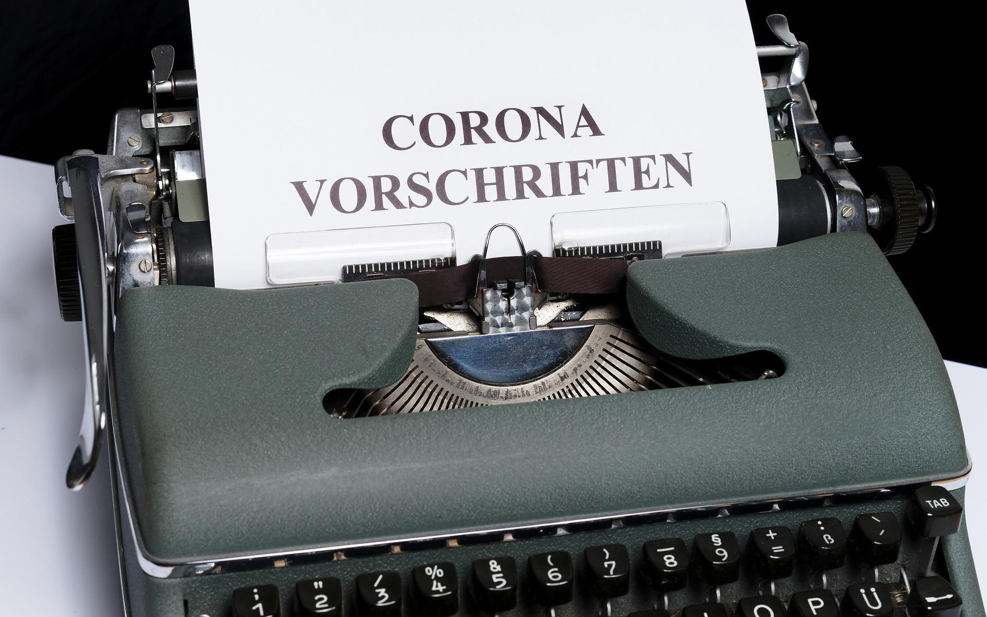 Schreibmaschine Corona Vorschriften
