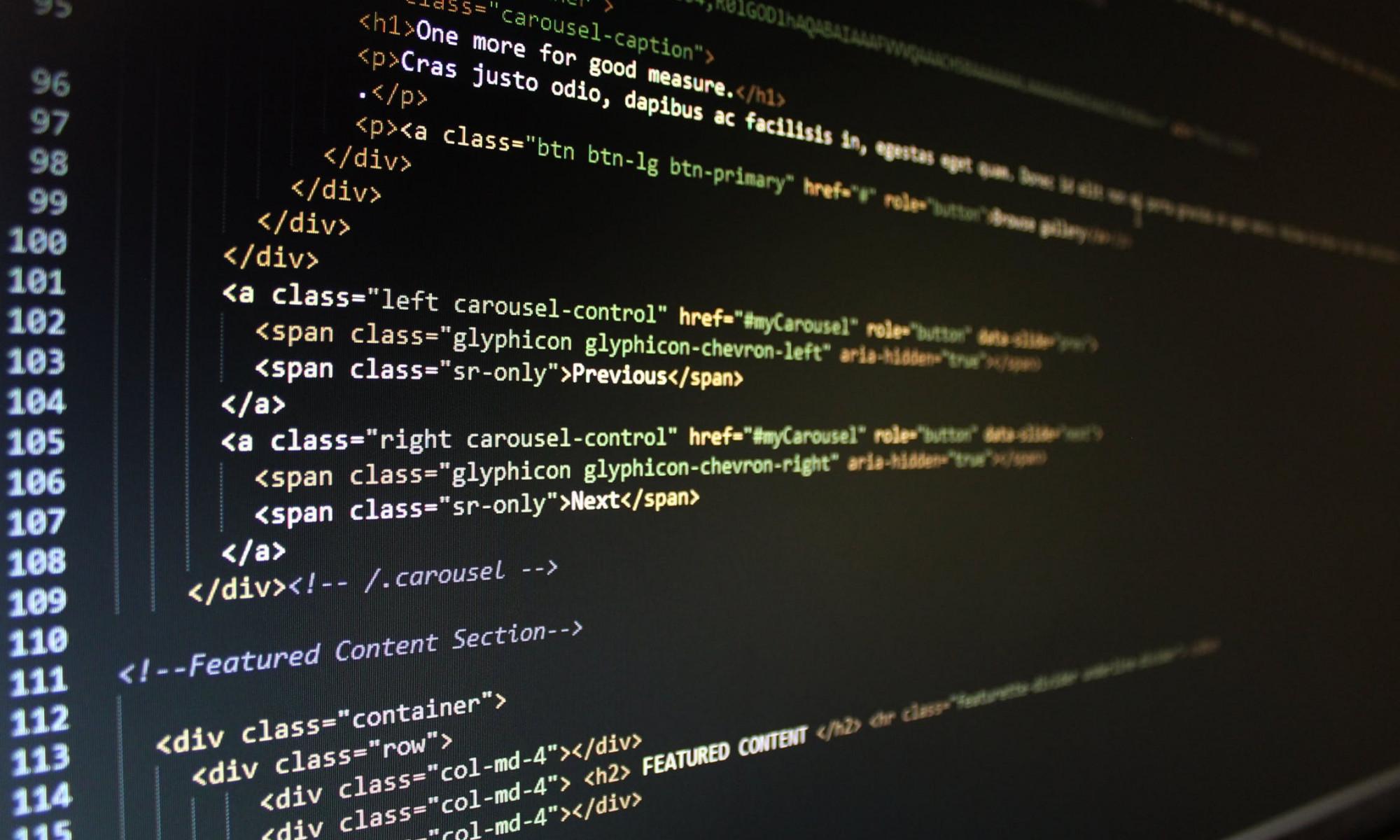 Bildschirm mit Programmiercode